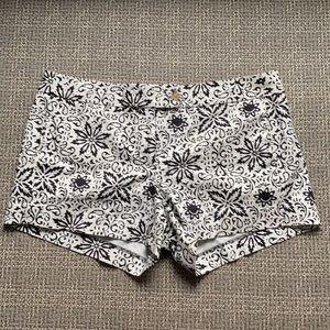 J Crew Black & Ivory Floral Print Stretch Shorts 8